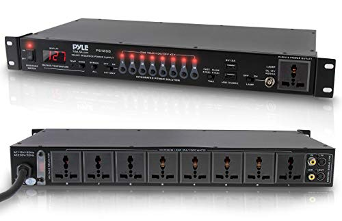 8 Outlet Power Sequencer Conditioner - 2200W Rack Mount Pro Audio Digital Power Supply Controller Regulator w/ Voltage Readout, Surge Protector, For Home Theater, Stage / Studio Use - Pyle PS1200