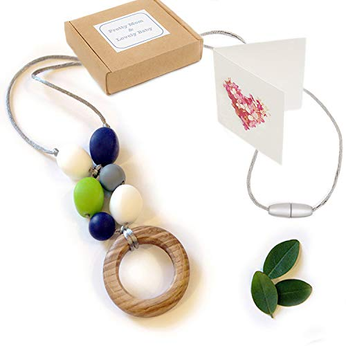 'Oak Ring' New Teething Necklace, Gift Box & Greeting Card; Natural Organic Oak Wood & Silicone Beads Jewellery