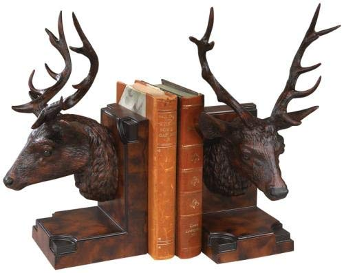 EuroLuxHome Bookends Bookend Mountain Rustic Stag Head Deer Resin New Hand-Cast Hand-