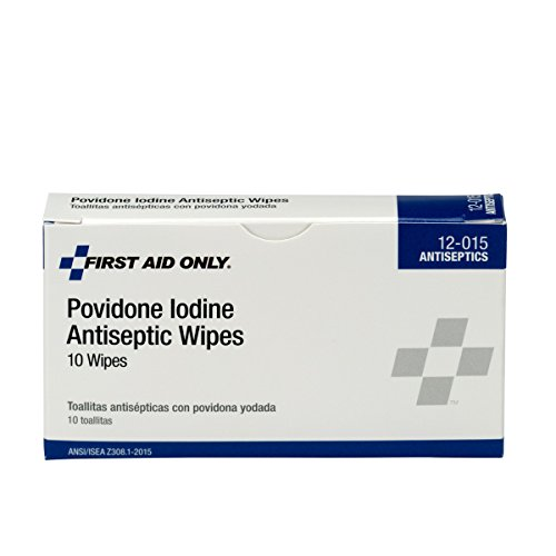 First Aid Only 12-015 Antiseptic Povidone PVP Iodine Wipe (Box of 10)