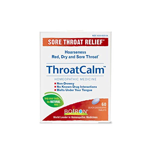Boiron Throatcalm Tablets for Sore Throat Relief, 60 Tablets - 4 Pack