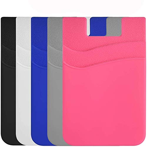 Phone Card Holder Silicone Wallet, Stick-on ID Credit Card Pocket for Smartphones(5PC)
