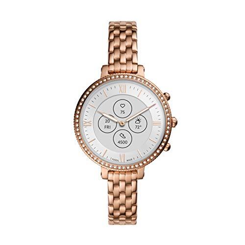 Fossil Women's 38mm Monroe Stainless Steel Hybrid HR Smart Watch, Color: Rose Gold (Model: FTW7037)
