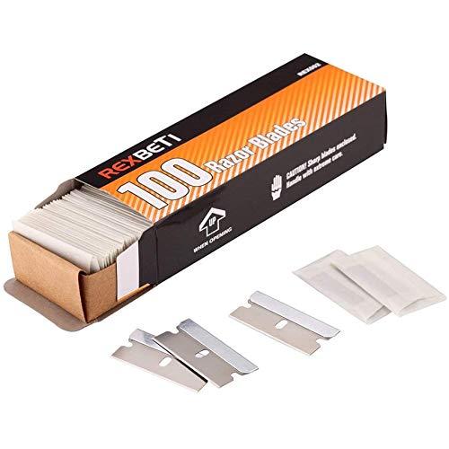 Single Edge Industrial Razor Blades by REXBETI, Box of 100 (100-PACK)