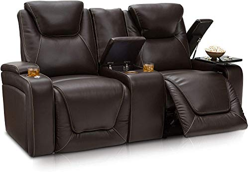 Seatcraft Vienna Home Theater Seating - Top Grain Leather - Power Recline - Power Headrest - Powered Lumbar - USB Charging - Cup Holders - (Loveseat with Storage Console, Brown)