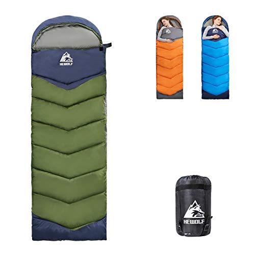 Camping Sleeping Bag - 4 Season Warm & Cold Weather, Lightweight, Portable, Waterproof Sleeping Bag for Adults & Kids(Army Green Left Zip/4.2lbs)
