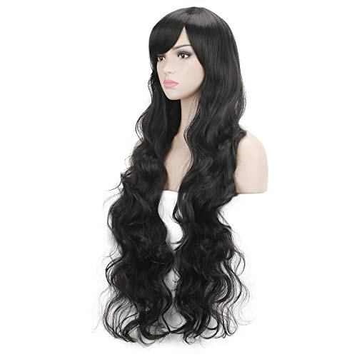DAOTS 32' Cosplay Wigs Long Wig Hair Heat Resistant Curly Wave Hairs for Women (Black)