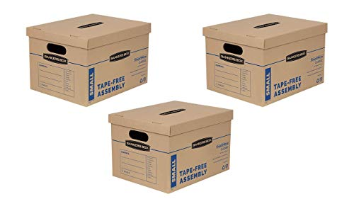Bankers Box SmoothMove Classic Moving Boxes, Tape-Free Assembly, Easy Carry Handles, Small, 15 x 12 x 10 Inches, (7714901)- 3 Sets of 10pk
