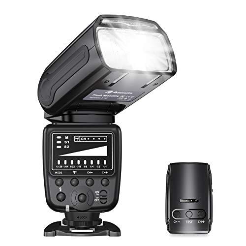 Powerextra Flash Speedlite, 2.4G Wireless Flash Trigger Transmitter Kit for CA Nikon Panasonic Olympus Pentax and Sony DSLR Camera, Digital Cameras with Standard Hot Shoe