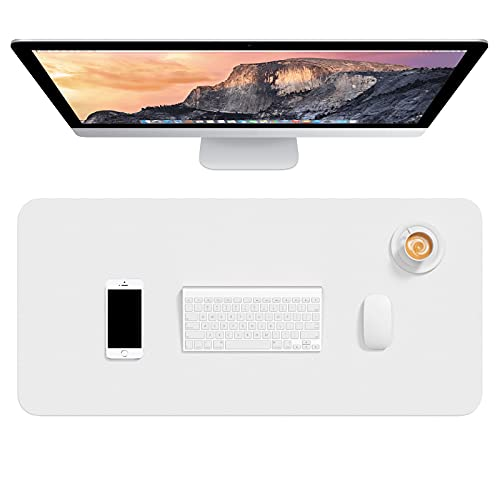 Hsurbtra Desk Pad, 30' x 14' PU Leather Desk Mat, XL Extended Mouse Pad, Waterproof Desk Blotter Protector, Ultra Thin Large Laptop Keyboard Mat, Non-Slip Desk Writing Pad for Office Home, White