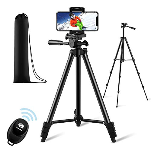 【New Version】 Phone Tripod, Premium Aluminum Alloy Camera Tripod with Cell Phone Mount & Wireless Bluetooth Remote, Professional 50' Extendable Portable Tripod Stand, Compatible with iOS/Android