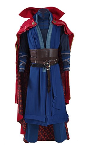 2016 Hot Movie Doctor Costume Blue Heavy Robe and Red Cloak Cosplay Outfit (US Men-L, Blue)