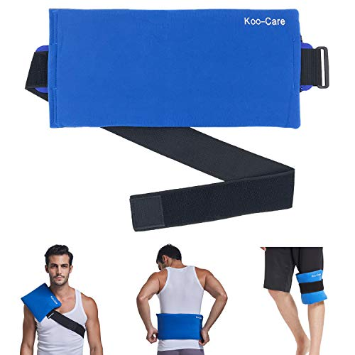 Koo-Care Large Gel Ice Pack & Wrap with Long Strap Hot Cold Therapy Pack for Shoulder, Waist & Lower Back, Belly, Thigh, Knee, Shin - Great for Injury, Sprain, Bruise - 15.5' x 7.3'