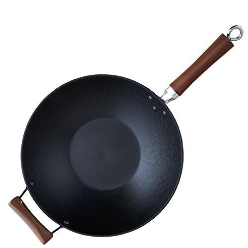 IMUSA USA Light Cast Iron Wok with Wood Handles 14-Inch, Black