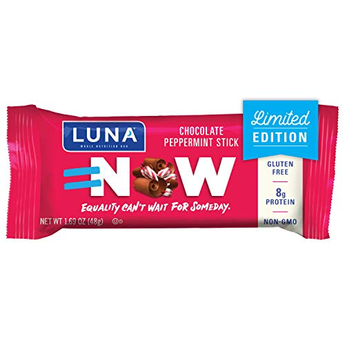 LUNA BAR - Gluten Free Bars - Chocolate Peppermint Stick - (1.69 Ounce Snack Bars, 15 Count)