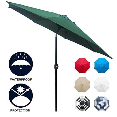 Sunnyglade 9' Patio Umbrella Outdoor Table Umbrella with 8 Sturdy Ribs (Dark Green)