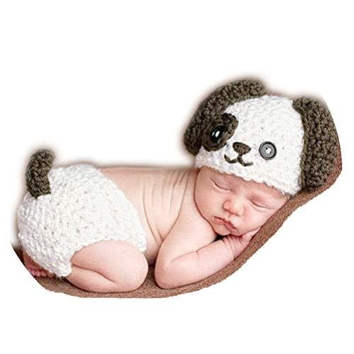 Newborn Baby Photography Props Outfits Crochet Knitted Blue Dog Hat Shorts with Bone Set for Boys Girls Photography Shoot (white)