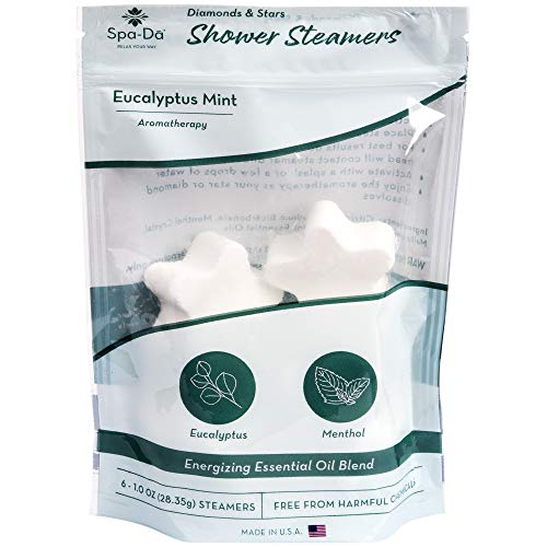 Spa-Da Shower Steamers   Invigorate Morning Showers with Aromatherapy   6-Pack Shower Bombs Made with Eucalyptus Menthol to Relieve Sinuses   Relaxing Gifts for Women