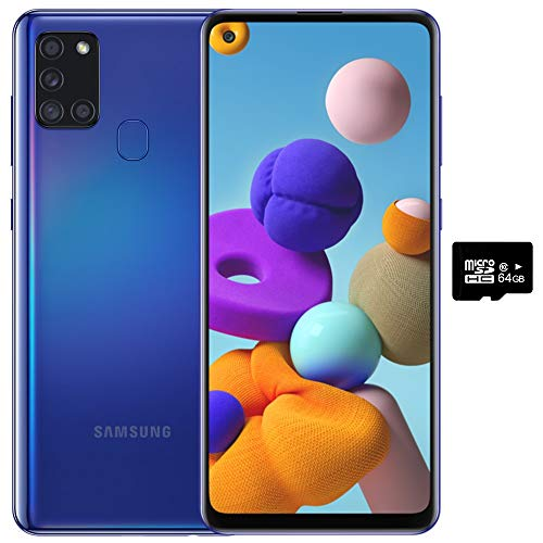 Samsung Galaxy A21S (64GB, 4GB) 6.5', Quad Camera, All Day Battery Dual SIM GSM Unlocked Global 4G LTE Volte (T-Mobile, AT&T, Metro, Straight Talk) International Model A217M/DS (64GB SD Bundle, Blue)