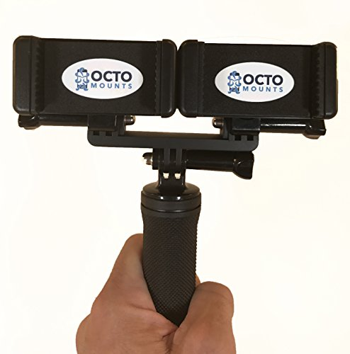 OCTO MOUNT Dual Device Hand-Held Stabilizer for Cell Phone or GoPro Camera. Compatible with iPhones, Samsung Galaxy, HTC, etc.