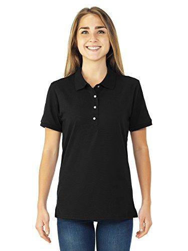 Jerzees womens 5.6 oz. 50/50 Jersey Polo with SpotShield(437W)-BLACK-L