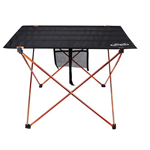 G4Free Ultralight Portable Folding Camping Table Compact Roll Up Tables with Carrying Bag for Outdoor Camping Hiking Picnic (Orange Large)