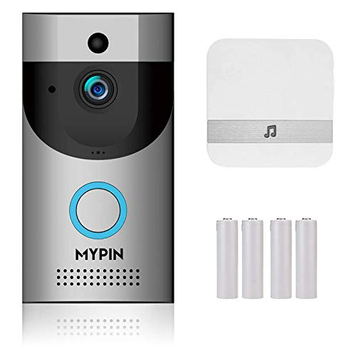 Wireless Doorbell Camera, Waterproof WiFi Doorbell Security Camera with Chime, Cloud Storage, Two-Way Talk, PIR Motion Detection, Night Vision and Rechargeable Batteries