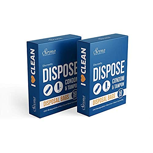 Sirona Tampon Disposal Bags - 100 Bags   Discreet Disposal of Feminine Hygiene Products   Biodegradable   Easy to Carry   Leak-Proof and Tamper Proof