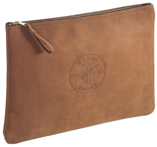 Klein Tools 5136 Contractor's Leather Portfolio with Heavy Duty Zipper Close , Brown , 12 by 17 inches