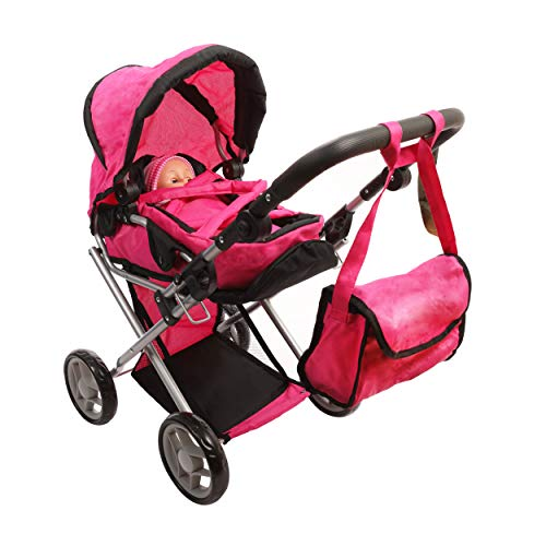 Mommy & Me Baby Doll Stroller Deluxe Foldable 4 in 1 Doll Pram with Carrier, Adjustable Handle, Basket, and Carriage Bag