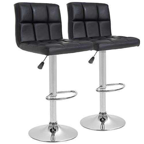 BestOffice Bar Stool Barstools Bar Chairs Counter Height Adjustable Swivel Stool with Back PU Leather Kitchen Counter Stools Set of 2 Dining Chairs (Black)