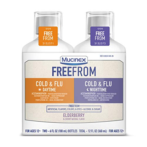 Mucinex FreeFrom Cold and Flu Daytime and Nighttime, Multi-Symptom Relief, Bundle Value Pack, No Unwanted Additives, Elderberry and Cherry Natural Flavor, 2 x 6 FL OZ