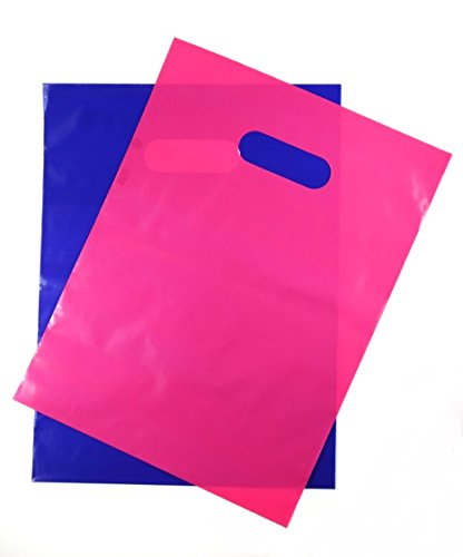 200 Pink and Purple 1.5Mil, 9' x 12' Extra Thick Glossy Plastic Retail Merchandise Bags with Die Cut Handles,No Gusset- Perfect Thank You Bags for Customers,Shopping,Gifts and Tradeshows
