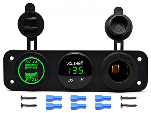 Cllena Triple Function Dual USB Charger + LED Voltmeter + 12V Outlet Power Socket Panel Jack for Car Boat Marine Digital Devices Mobile Phone Tablet (Green LED)
