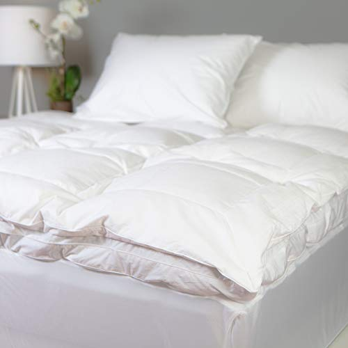 Allied Essentials Luxe 100% Cotton White Down and Goose Featherbed Mattress Topper, Twin XL