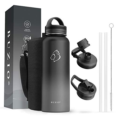 BUZIO 40 oz Water Bottle, Stainless Steel Insulated Water Flask with Straw Lids, Canteen Metal Thermo Mug Hydro Cup Jug, Double Vacuum Hot Cold Water Bottles with Carrying Pouch, Black and Gray