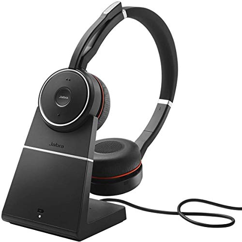 Jabra Evolve 75 MS Wireless Headset, Stereo – Includes Link 370 USB Adapter and Charging Stand – Bluetooth Headset with World-Class Speakers, Active Noise-Cancelling Microphone, All Day Battery