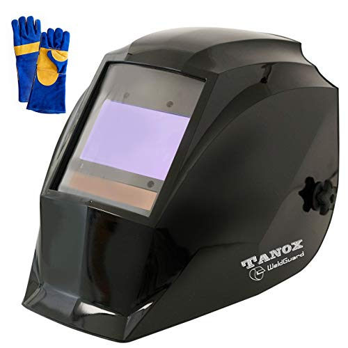 Digital Control Auto Darkening Solar Powered Welding Helmet ADF-210S, Solar Shade Lens, Tig Mig MMA, Adjustable Range 4/9-13 Bonus 16' Fire Retardant Welding Gloves, Carrying Bag and spare lens