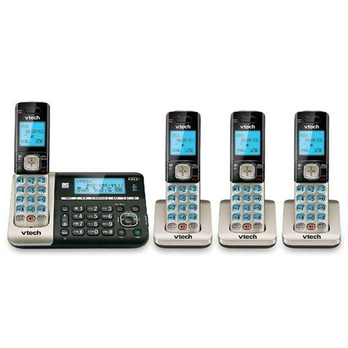 VTech DS6752-4 4-Handset DECT 6.0 Cordless Phone with Bluetooth Connect to Cell, Digital Answering System and Caller ID, Expandable up to 5 Handsets, Wall-Mountable, Silver/Black