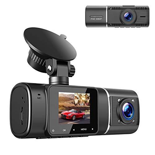 2021 Upgrade | TOGUARD Dual Dash Cam FHD 1080P+1080P Front Inside Cabin Car Camera Driving Recorder for Car Taxi w/IR Night Vision Interior Camera Parking Mode G-Sensor Loop Recording 1.5' LCD Display