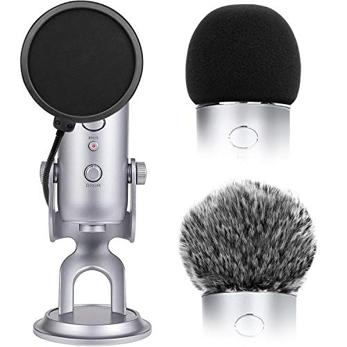 Microphone Cover with Pop Filter, 3 in 1 Mic Furry Windscreen Microphone Foam Cover Pop Filter Compatible with Blue Yeti and Yeti Pro Condenser by ChromLives, Combo 3Pack