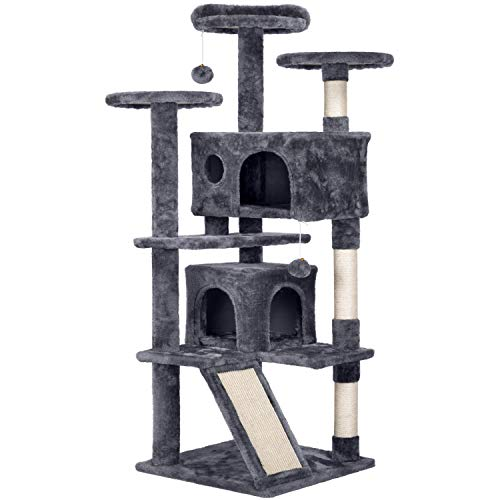 Topeakmart 54 inches Multi-Level Cat Tree Cat Condo with Scratching Posts Kittens Activity Tower Pet Play House Furniture