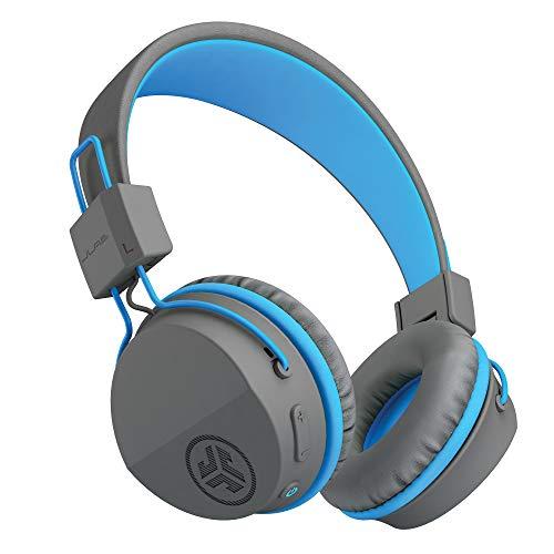 JLab JBuddies Studio Bluetooth Over-Ear Kids Headphones   13 Hour Battery Life   Studio Volume Safe   Volume Limiter   Folding   Adjustable   Noise Isolation   with Mic   Graphite/Blue