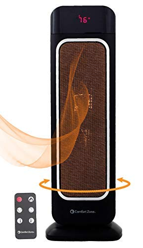 Oscillating Space Heater – Ceramic Forced Fan Heating with Stay Cool Housing - Tower with Remote Control, Digital Thermostat, Timer, Large Temperature Display and Efficient ECO Mode - by Bovado USA