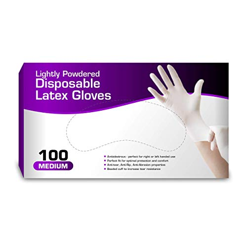 Chef's Star Latex Disposable Gloves, Comfortable, Lightly Powdered, Natural 100 per Box (Medium)