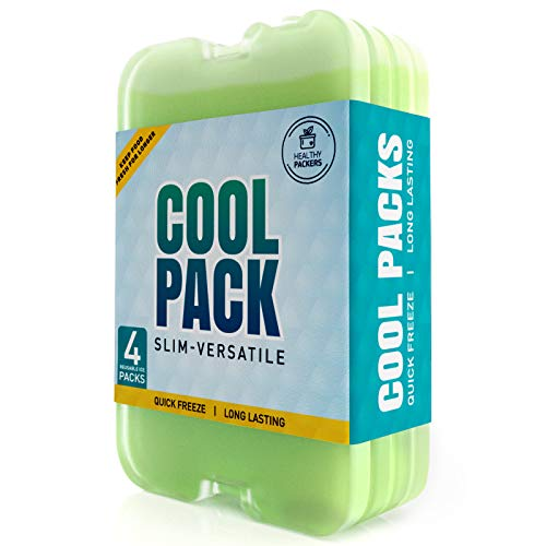 Healthy Packers Ice Pack for Lunch Box - Freezer Packs - Original Cool Pack | Slim & Long-Lasting Ice Packs for Your Lunch or Cooler Bag (4- Pack)