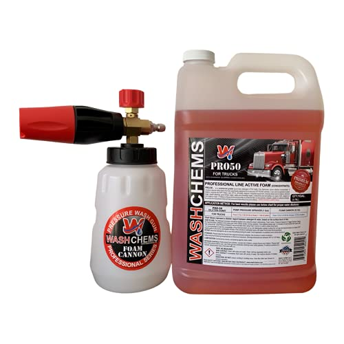 WASH CHEMS Professional Foam Cannon with 1 Gal of PRO-50 (Touchless Detergent - No Brushing Necessary) Combo