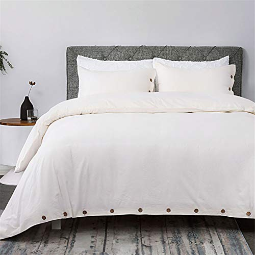 Bedsure 100% Washed Cotton Duvet Cover Sets King Size Cream Bedding Set 3 Pieces (1 Duvet Cover + 2 Pillow Shams)