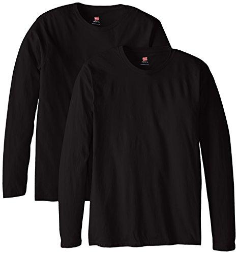 Hanes Men's Long Sleeve Nano Cotton Premium T-Shirt (Pack of 2), Black, Large