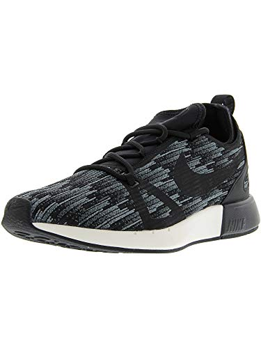 Nike Womens Dual Racer Fabric Low Top Lace Up Running Sneaker, Black, Size 10.0